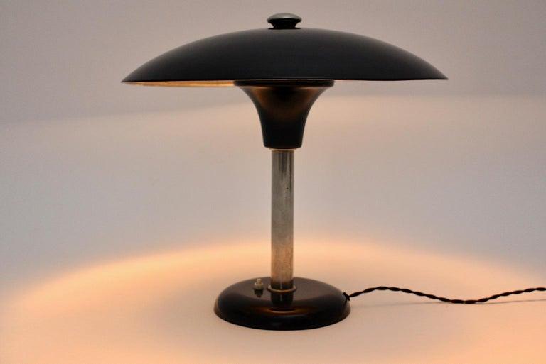 Art Deco Vintage Black Chrome Table Lamp Desk lamp Max Schumacher, 1934, Germany For Sale 2