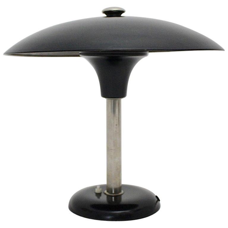 Art Deco Vintage Black Chrome Table Lamp Desk lamp Max Schumacher, 1934, Germany For Sale
