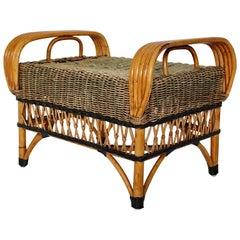 Art Deco Vintage Brown Bamboo Rattan Stool, 1930s, Austria