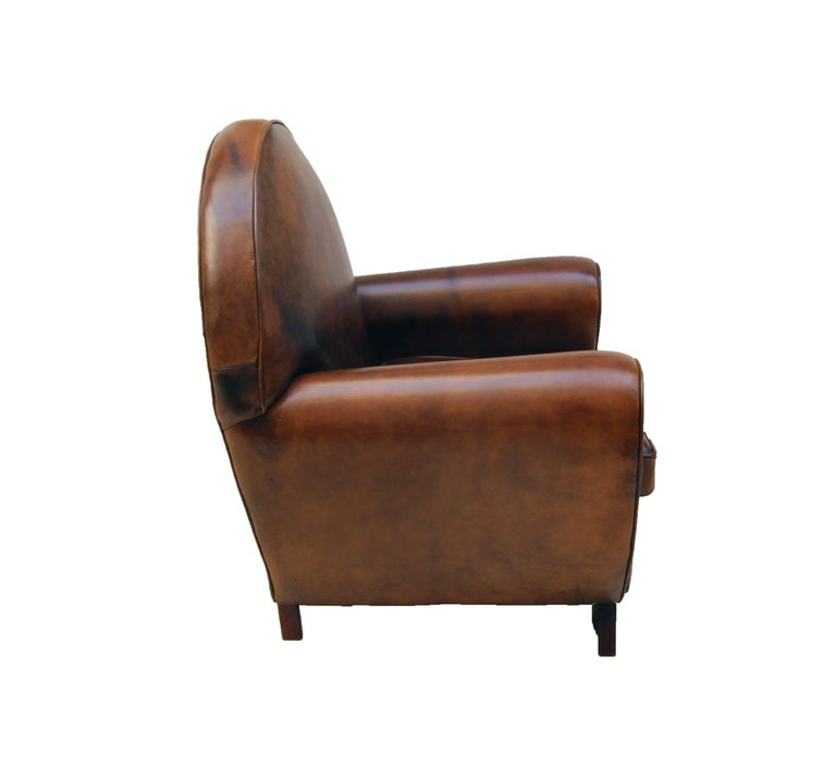 Art Deco Vintage Brown-Cognac Leather Club Armchair For ...