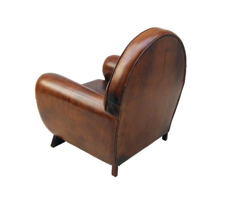 Dutch Art Deco Vintage Brown-Cognac Leather Club Armchair For Sale