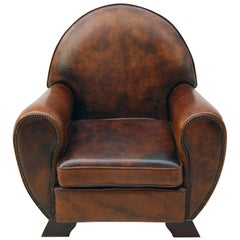 Art Deco Vintage Brown-Cognac Leather Club Armchair