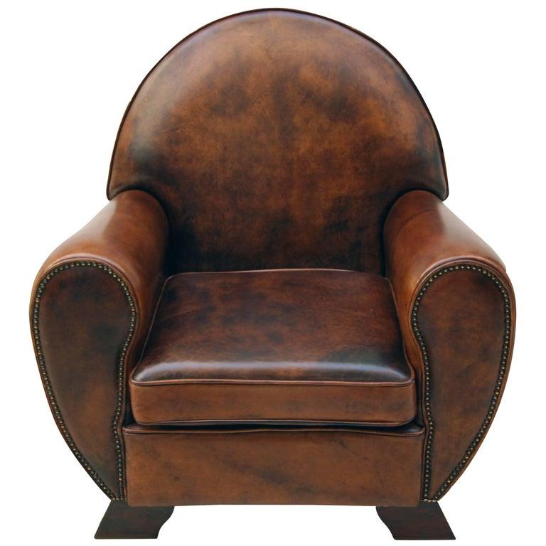 Art Deco Vintage Brown-Cognac Leather Club Armchair For Sale