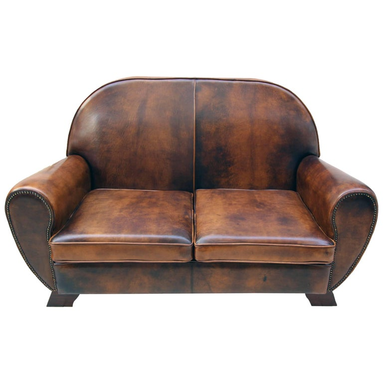 Art Deco Vintage Brown-Cognac Leather Club Sofa For Sale