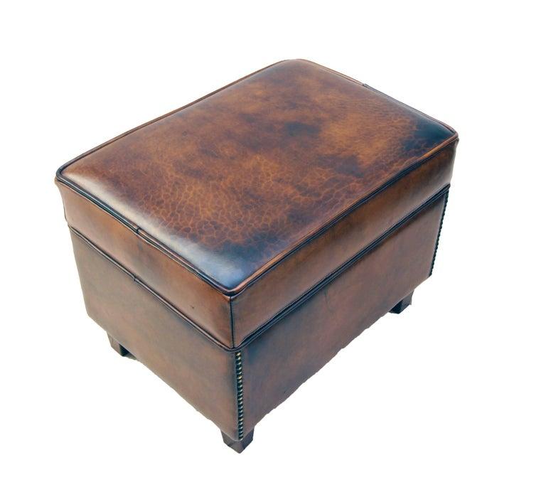 Dutch Art Deco Vintage Brown-Cognac Leather Club Stool For Sale