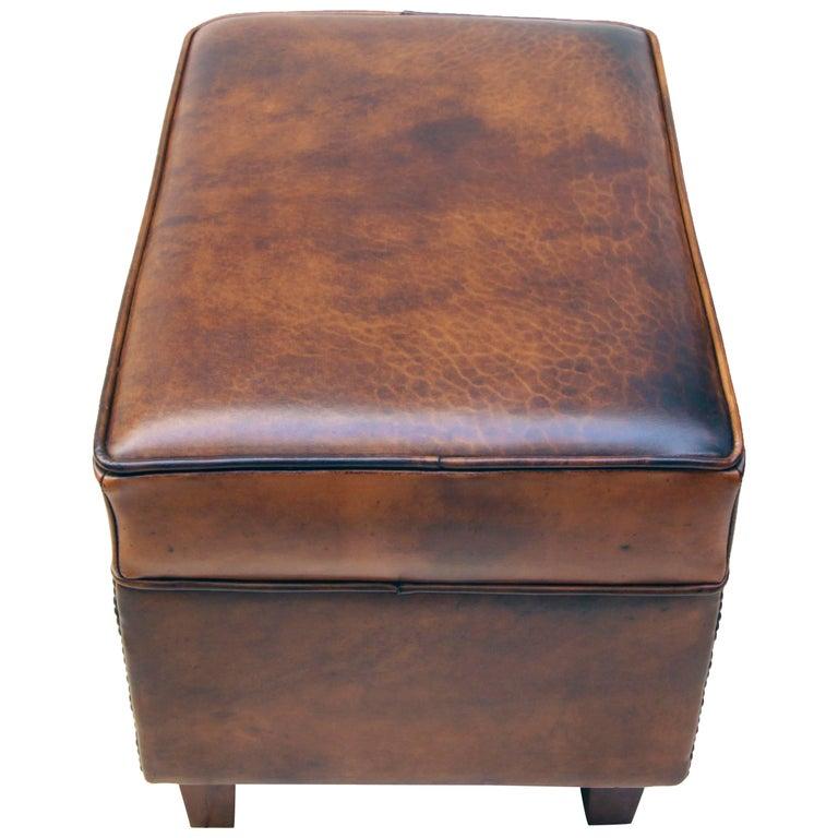 Art Deco Vintage Brown-Cognac Leather Club Stool For Sale