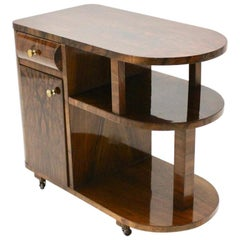 Art Deco Vintage Brown Walnut Bar Cart Vienna, circa 1930