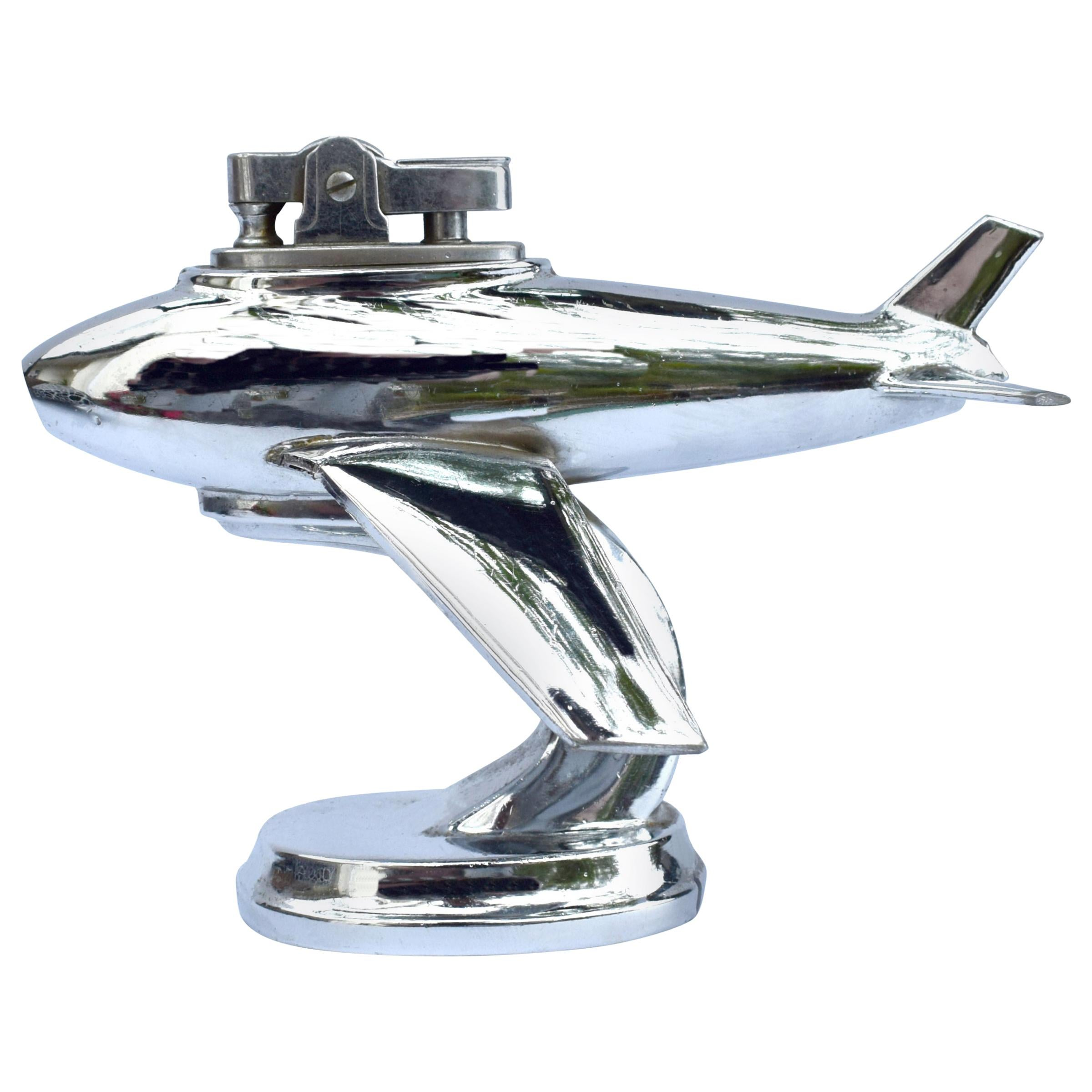 Art Deco Vintage Chrome Airplane Table Lighter