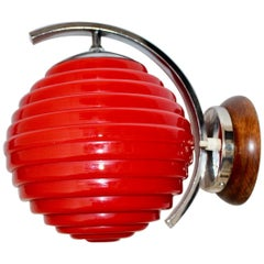 Art Deco Vintage Chromed Metal Sconce with Red Glass Lamp Shade 1920s Austria
