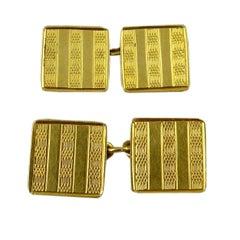 Art Deco Vintage Cufflinks, 18 Carat Gold, Hallmarked Birmingham, 1928