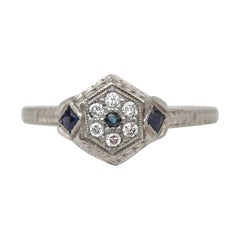 Art Deco Vintage Diamond and Sapphire Halo Etched 18 Karat White Gold Ring