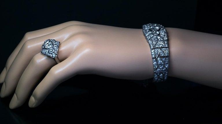 Women's Art Deco Vintage Diamond Platinum Bracelet For Sale