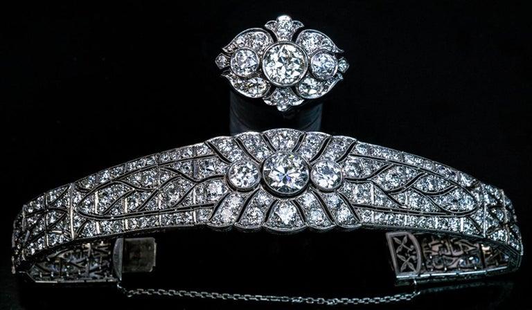 Art Deco Vintage Diamond Platinum Bracelet For Sale 1