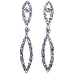 Art Deco Vintage Diamond Platinum Gold Long Earrings
