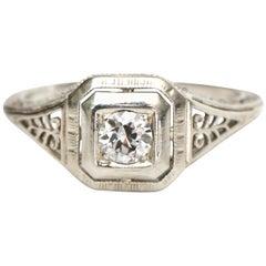 Art Deco Vintage Filigree 18 Karat .22 Carat Solitaire Diamond Ring