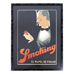 Art Deco Vintage Framed Poster of Man Smoking Made in Spain, 1940s