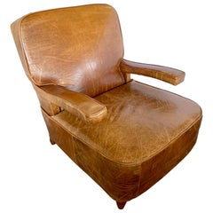 Art Deco Vintage French Brown Leather Club Cigar Chair