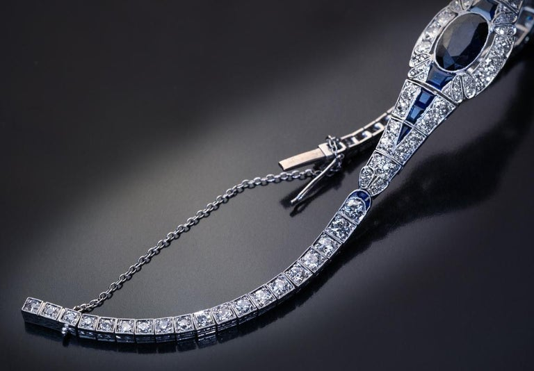 Old European Cut Art Deco Vintage French Sapphire Diamond Platinum Bracelet For Sale