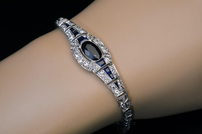 Art Deco Vintage French Sapphire Diamond Platinum Bracelet For Sale 1