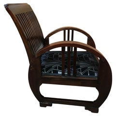 Art Deco Vintage French Wooden Armchair, 1930