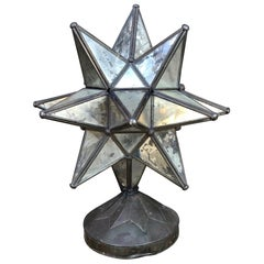 Art Deco Vintage Glass STAR Table Lamp on Patinated Brass Base Mexico 1960s