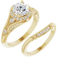 Halo Diamond Wedding Ring 14 Karat Yellow Gold 2.75 Carat