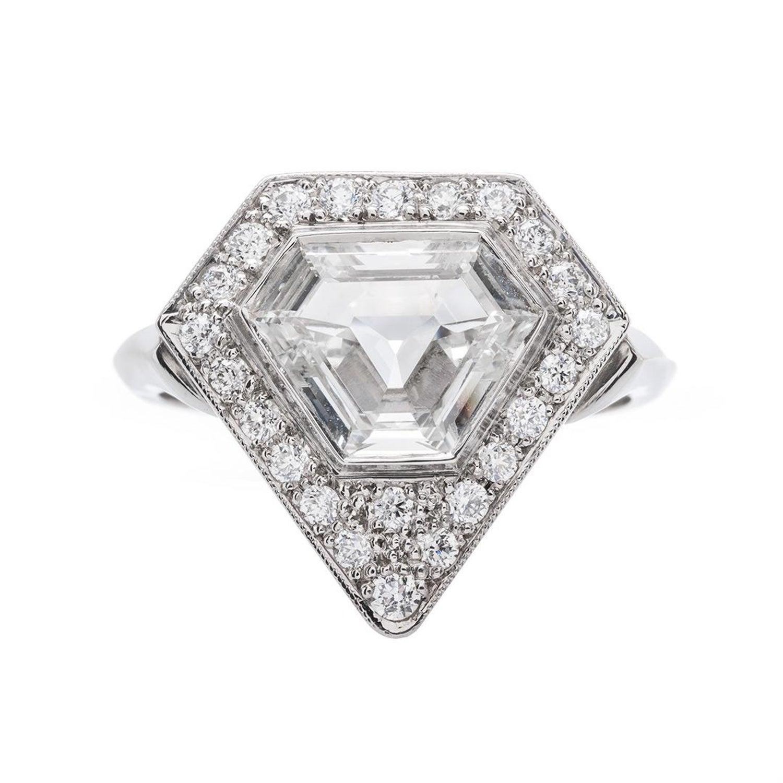 651fda222 Art Deco Vintage Inspired 1.46 Carat Triangle Step Cut Diamond Platinum Ring  at 1stdibs