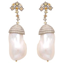 Art Deco Vintage Inspired 1920s Pearl and Diamond Earrings