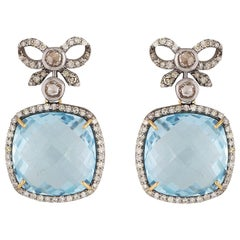 Art Deco Vintage Inspired Bow Earrings with Blue Topaz and Diamonds