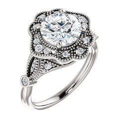 Art Deco Vintage Inspired Halo Round Brilliant GIA Certified Engagement Ring