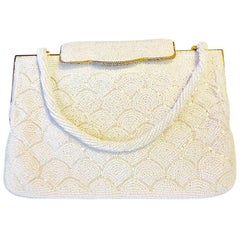 Art Deco Vintage Ladies Evening Bag with White Beaded Patterns of Stylized Waves