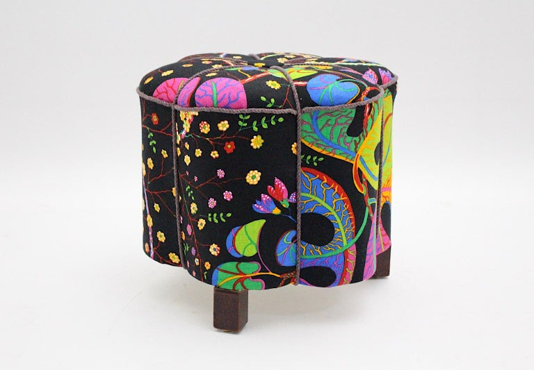 Art Deco Vintage Multicolored Fabric Stool or Pouf, Austria, 1930s For Sale 5