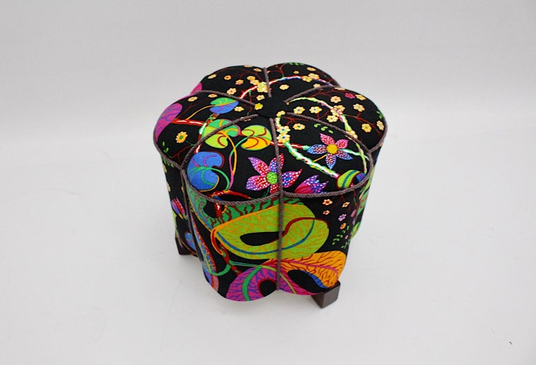 Art Deco Vintage Multicolored Fabric Stool or Pouf, Austria, 1930s For Sale 6