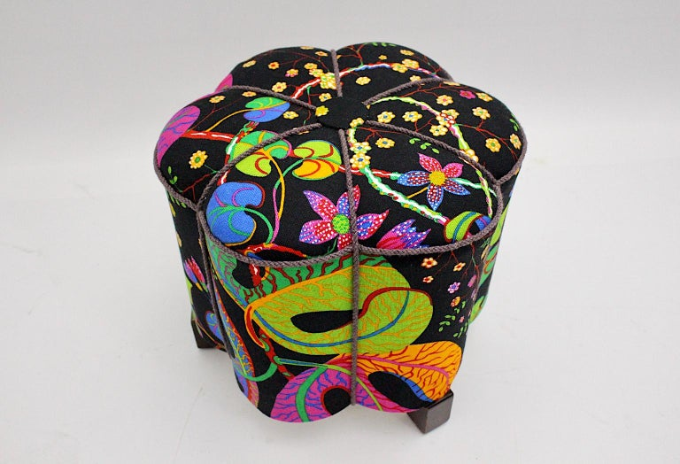Art Deco Vintage Multicolored Fabric Stool or Pouf, Austria, 1930s For Sale 7