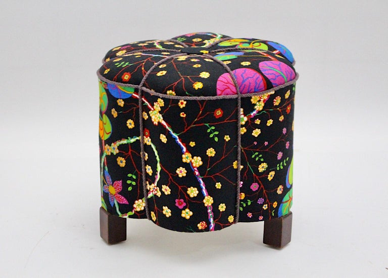 Mid-20th Century Art Deco Vintage Multicolored Fabric Stool or Pouf, Austria, 1930s For Sale