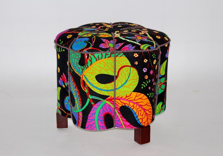 Upholstery Art Deco Vintage Multicolored Fabric Stool or Pouf, Austria, 1930s For Sale