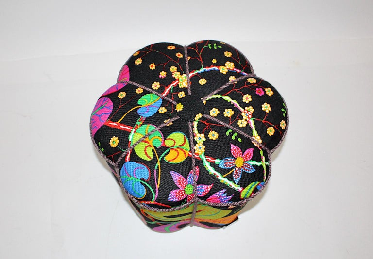 Art Deco Vintage Multicolored Fabric Stool or Pouf, Austria, 1930s For Sale 1