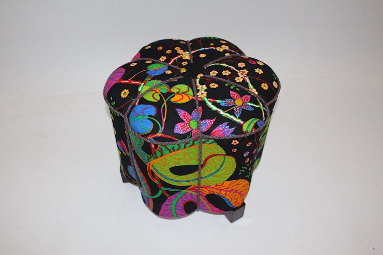 Art Deco Vintage Multicolored Fabric Stool or Pouf, Austria, 1930s For Sale 2