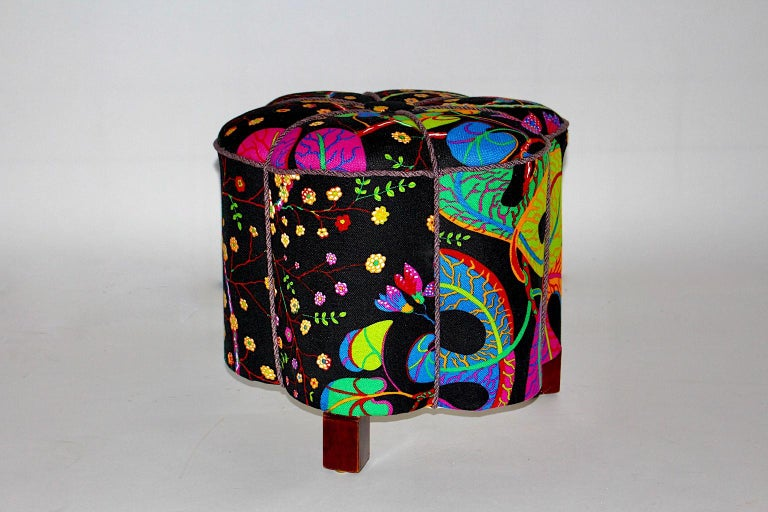 Art Deco Vintage Multicolored Fabric Stool or Pouf, Austria, 1930s For Sale 3