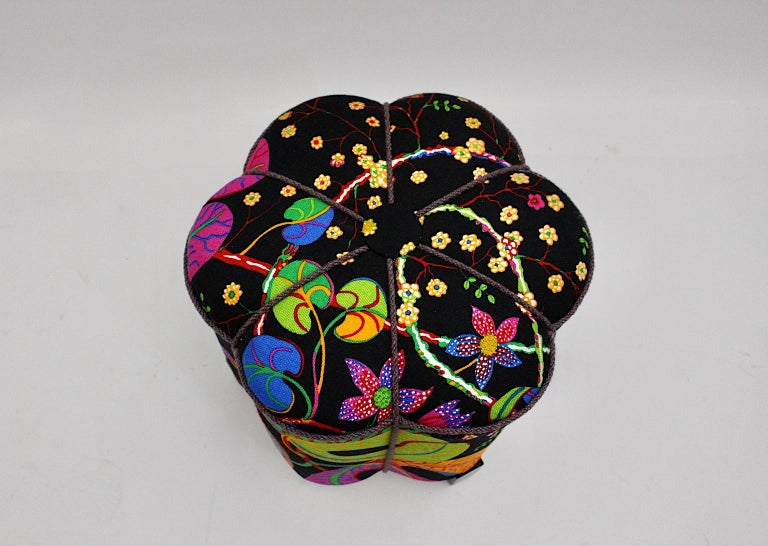 Art Deco Vintage Multicolored Fabric Stool or Pouf, Austria, 1930s For Sale 4