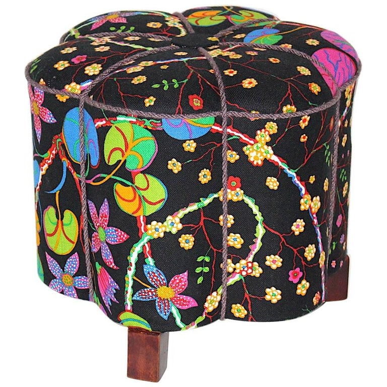 Art Deco Vintage Multicolored Fabric Stool or Pouf, Austria, 1930s For Sale