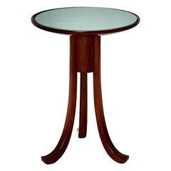 Art Deco Vintage Oak Green Glass Side Table attributed Josef Frank, 1930s Vienna