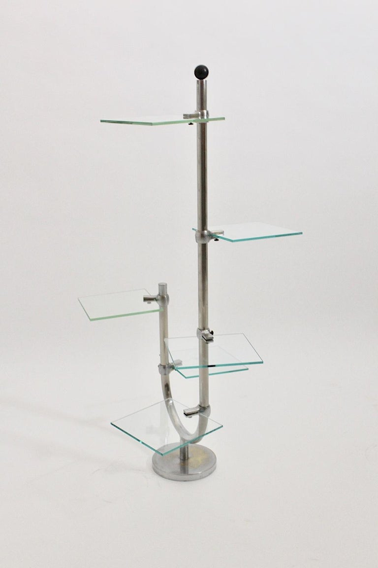 Art Deco Vintage Pair of Nickel-Plated Shelves or Flower Stand, 1930s, France For Sale 4
