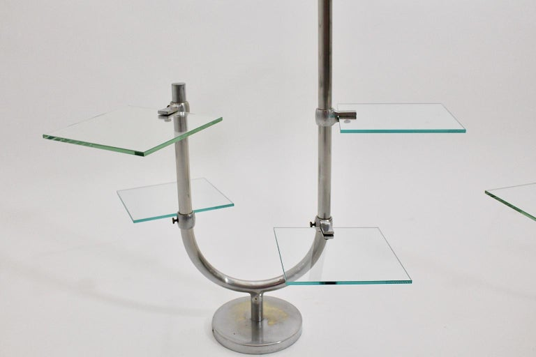 Art Deco Vintage Pair of Nickel-Plated Shelves or Flower Stand, 1930s, France For Sale 5
