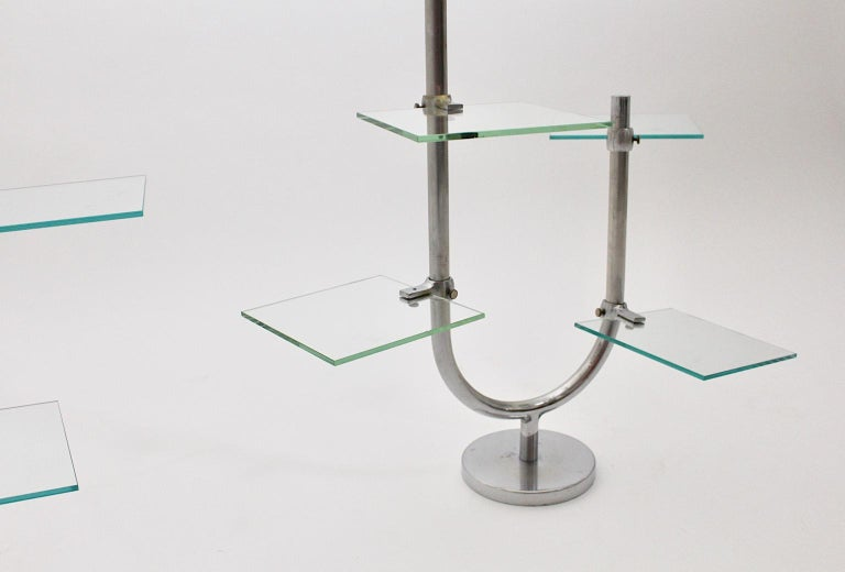 Art Deco Vintage Pair of Nickel-Plated Shelves or Flower Stand, 1930s, France For Sale 6