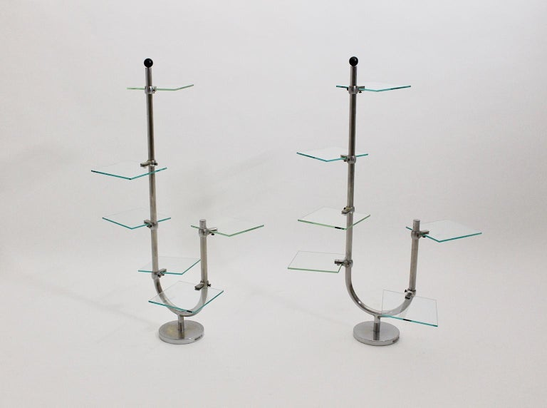 Mid-20th Century Art Deco Vintage Pair of Nickel-Plated Shelves or Flower Stand, 1930s, France For Sale