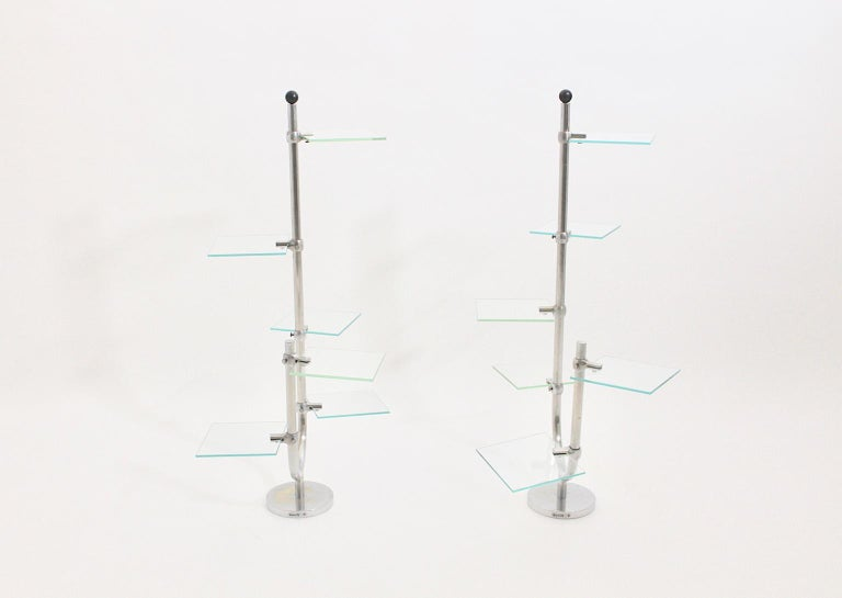 Stone Art Deco Vintage Pair of Nickel-Plated Shelves or Flower Stand, 1930s, France For Sale