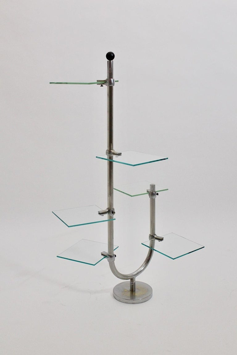 Art Deco Vintage Pair of Nickel-Plated Shelves or Flower Stand, 1930s, France For Sale 3