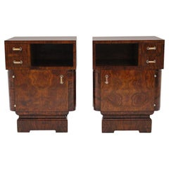 Art Deco Vintage Pair of Rosewood Nightstands or Small Cabinets, 1930s, Italy
