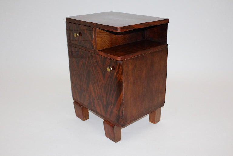 Austrian Art Deco Vintage Rosewood Brass Chest or Nightstand, Austria, 1930s For Sale